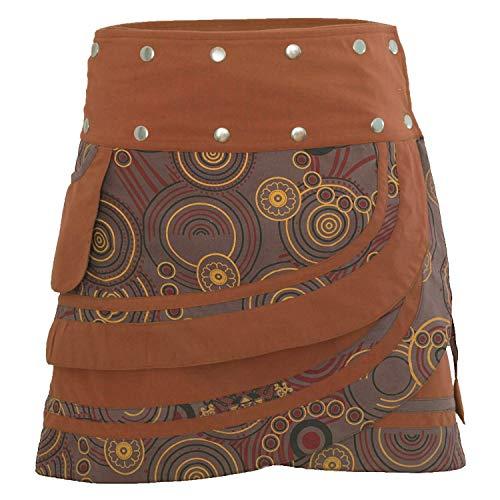 PUREWONDER Damen Wickelrock Baumwolle Rock mit Tasche sk181 Braun Einheitsgröße verstellbar