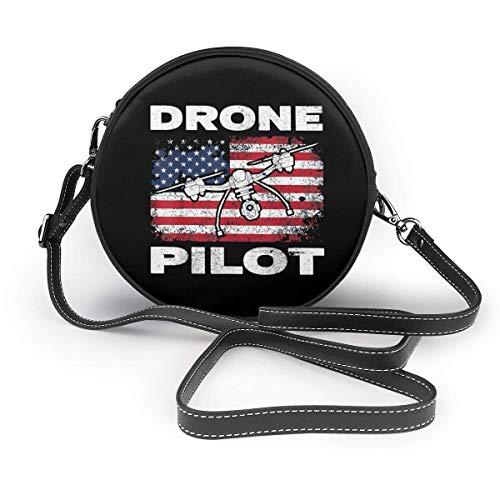 baowen Drone Pilot Quadrocopter US Flag Klassische runde Umhängetasche Umhängetasche aus Leder