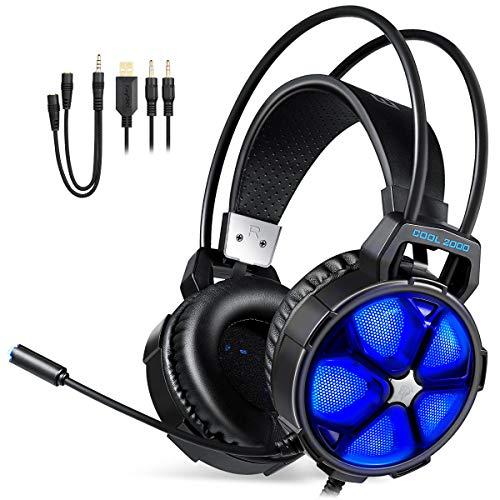 【2021 Nueva Versión】 REDSTORM Auriculares Gaming PS4, Cascos Gaming con Micrófono, Iluminación...