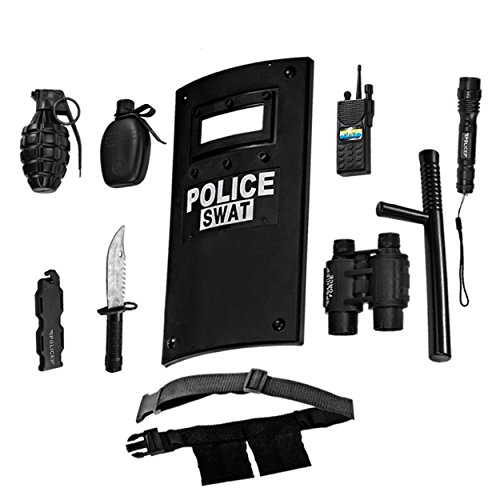 Dress-Up-America Police Toys Role Play - Ultimate All-In-One Police Costume For Kids – Police Officer SWAT Gear Set Includes Shield, Adjustable Belt, Flashlight & More, Durable Pretend Play