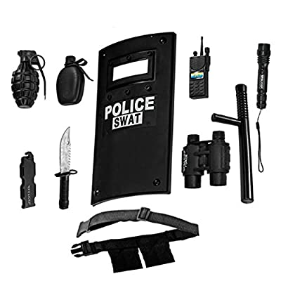Dress Up America Police Toys Role Play - Ultimate All-in-One Police Costume for Kids – Police Officer SWAT Gear Set Includes Shield, Adjustable Belt, Flashlight & More, Durable Pretend Play from Dress Up America