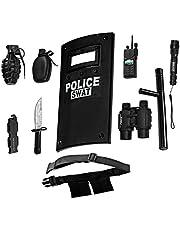 Dress Up America All in One Police Officer Role Play Set for Kids - Inclusief Swat Shield, verstelbare riem, zaklamp en nog veel meer, Duurzaam Kunststof Bouw, politie Halloween Uniform Accessoires
