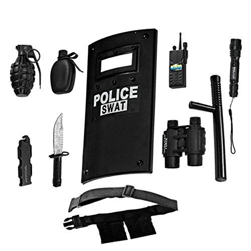 Ultimate tout-en-un ensemble de jeu de rôle policier pour les enfants - Comprend SWAT Shield, ceinture réglable, lampe de poche et plus, Construction en plastique durable, Police Uniform Halloween Acc