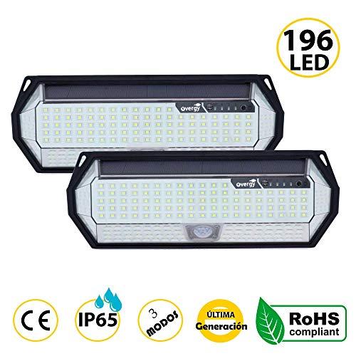 Overgy | PACK 2 Luz Solar Exterior 196 LED Última generación, Lámpara grande de 8 lados, IP65, batería de 2200 mAh de larga duración con sensor de movimiento y 3 modos de uso (Pack 2 Lámparas 196 LED)