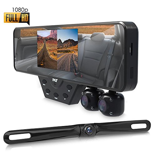 Pyle Newest Technology HD 3 Camera Dash Cam Rearview Mirror Backup Camera Mirror...