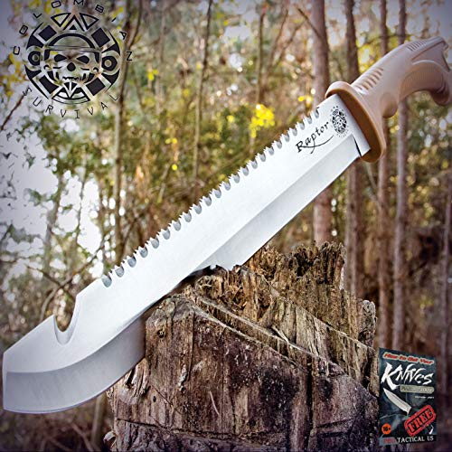 """New Cool 18-Inch Hunting Survival Sawback Military Full Tang Machete Fixed Blade Pro Tactical Elite Knife Sword for Home Camping Hunting Rescue + free Ebook by ProTactical""""US"""
