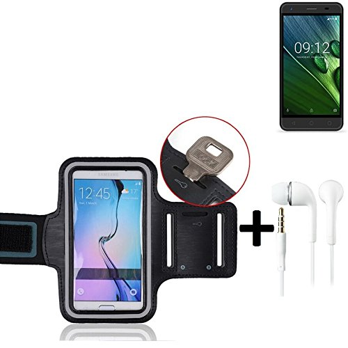 K-S-Trade® Compatibile con -Acer Liquid Z6 E- Montare Neoprene Bracciale Jogging Case Involucro Nero + Cuffie con Riflettore
