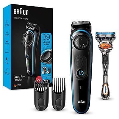 Braun Beard Trimmer BT3240 and Hair Clipper for Men, Lifetime Sharp Blades, 39 Length Settings, Black/Blue, UK Two Pin Plug from Procter & Gamble
