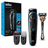Braun Recortadora de barba BT3240 y cortadora de pelo para hombre, cuchillas afiladas, 39 ajustes de longitud, color negro y azul, enchufe de dos pines del Reino Unido