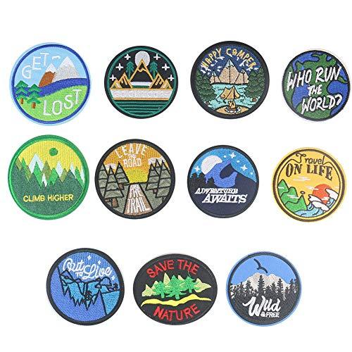 Parches para planchar/Patch Sticker,Se usa para decorar o reparar jeans,chaquetas,mochilas y zapatos de camisetas, pico de montaña del bosque redondo 11 piezas