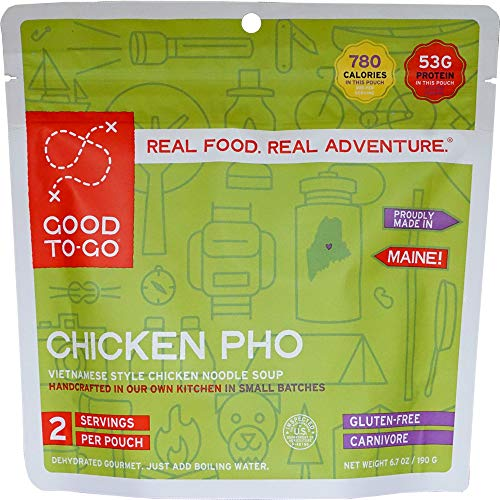 GOOD TO-GO Chicken Pho - Double Serving | Dehydrated Backpacking and Camping Food | Lightweight | Easy to Prepare