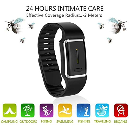 Goglor Ultrasonic Mosquito Repellent Bracelets, Reusable Electronic Mosquito Repellent Wristband Band with USB Cable, 2019 Best Travel/Camping Accessories for Kids Children and Adult(Black)