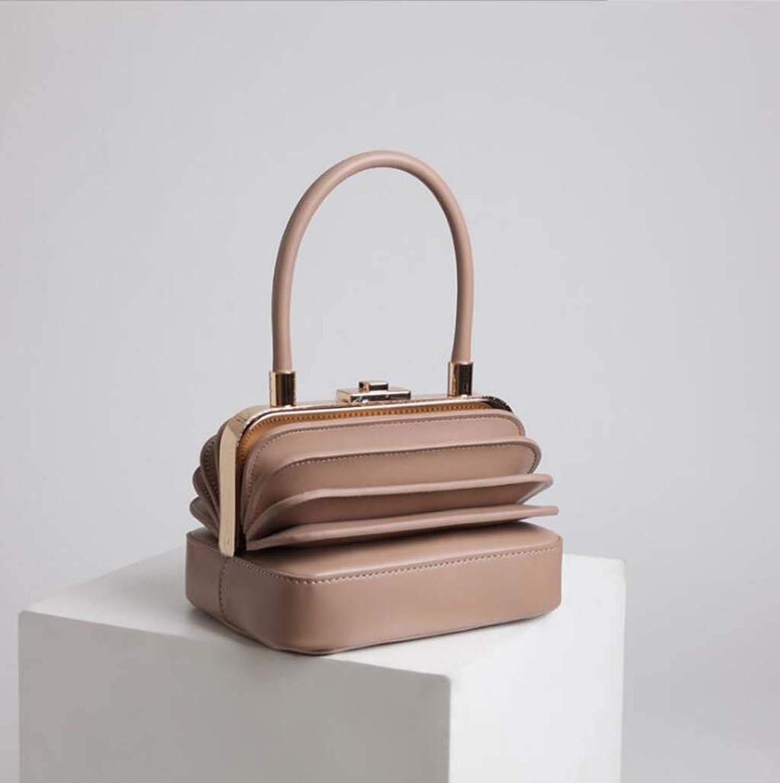 Ladies Handbag European and American Style Vintage Organ Leather Handbag (color   Apricot)