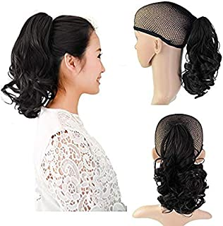 Beauty Angelbella Long Curly Ponytail Hair Extensions Clip in Claw Pony Tail Synthetic Hairpiece Wig 90g with Clips (2#)