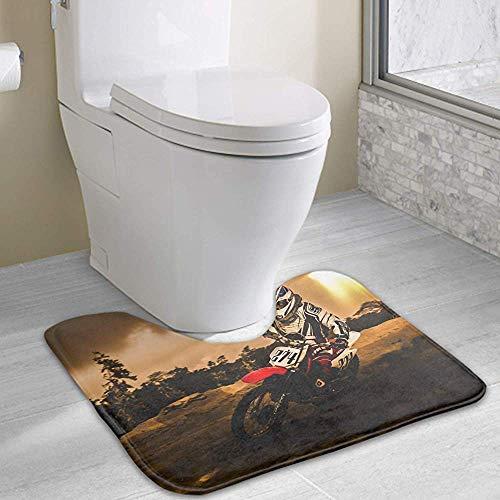 Taylor Fred Schmutz IKE Motocross WC Badematte U-förmige Kontur Teppiche für Badezimmer, weich und komfortabel, maximal saugfähig, rutschfest, 49 * 40 cm