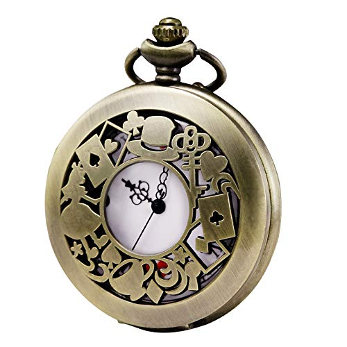 Morfong - Reloj de bolsillo de cuarzo para hombre y mujer, serie Alicia en el país de las maravillas, caja hueca, reloj vintage