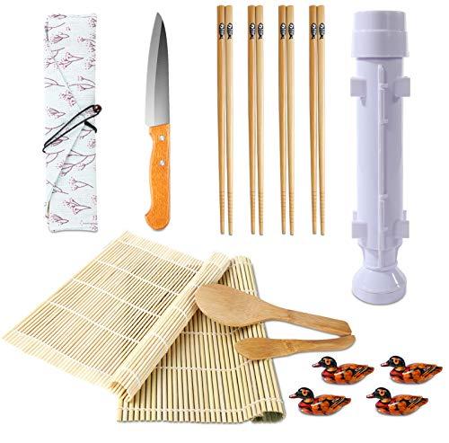 Sushi Making Kit Bamboo Sushi Mat All In One Sushi Bazooka Maker With Bamboo Chopsticks Paddle Spreader Sushi Knife Chopsticks Holder Cotton Bag DIY Sushi Roller Machine