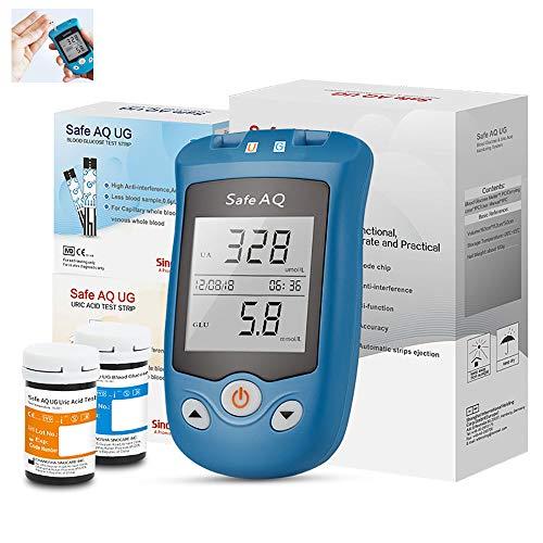 Misuratore di glucosio nel Sangue e Acido urico 2 in 1 Multifunzione Test del diabete Test dell\'acido urico 50 Striscia reattiva glucosio Sangue +25 Carta Test dell\'acido urico + 100 Lancetta,MG/DL
