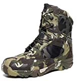 HARGLESMAN Men's Tactical Boots 8 Inches Combat Durable Military Work Desert Waterproof Jungle Boots with Zipper for Walking Outdoor Hiking Hunting Climbing Green Camo camouflage US Size 8.5