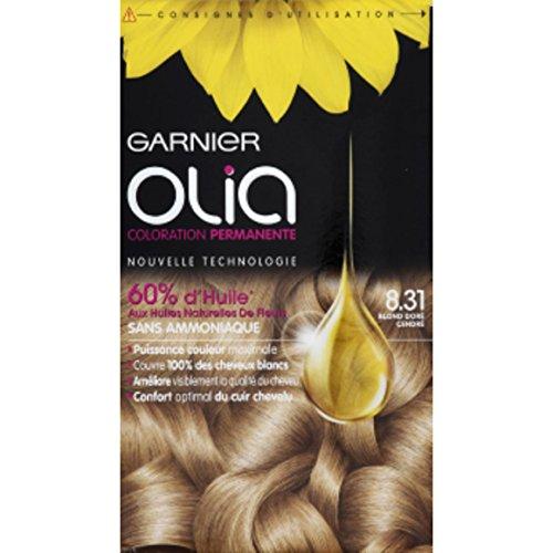 Garnier - Olia - 8.31 Blond doré cendré, Coloration permanente, Sans ammoniaque - La boîte de 174ml - (pour la quantité plus que 1 nous vous remboursons le port supplémentaire)