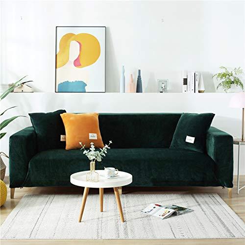 Plüsch Sofabezug Für 3 Kissen Couch,samt Sofa überwurf Elastischer Sesselbezug Möbel Sofa Loveseat Cover Protector Grün 2 Sitzer 140-185cm(55-73inch)