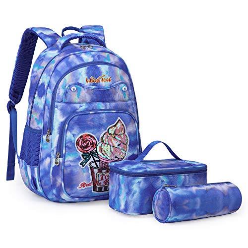 Wind Took 3-TLG Kinderrucksack Schulrucksack Schultasche Teenager Rucksack Backpack Mädchen Jungen Kinder Schultaschen-Sets mit Brotdose und Federmäppchen Blau