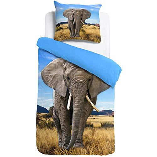 ESPiCO Bettwäsche Sleep and Dream Elefant Blau Wildnis Afrika Safari Wildtier Tiermotiv Renforcé, Größe:135 cm x 200 cm