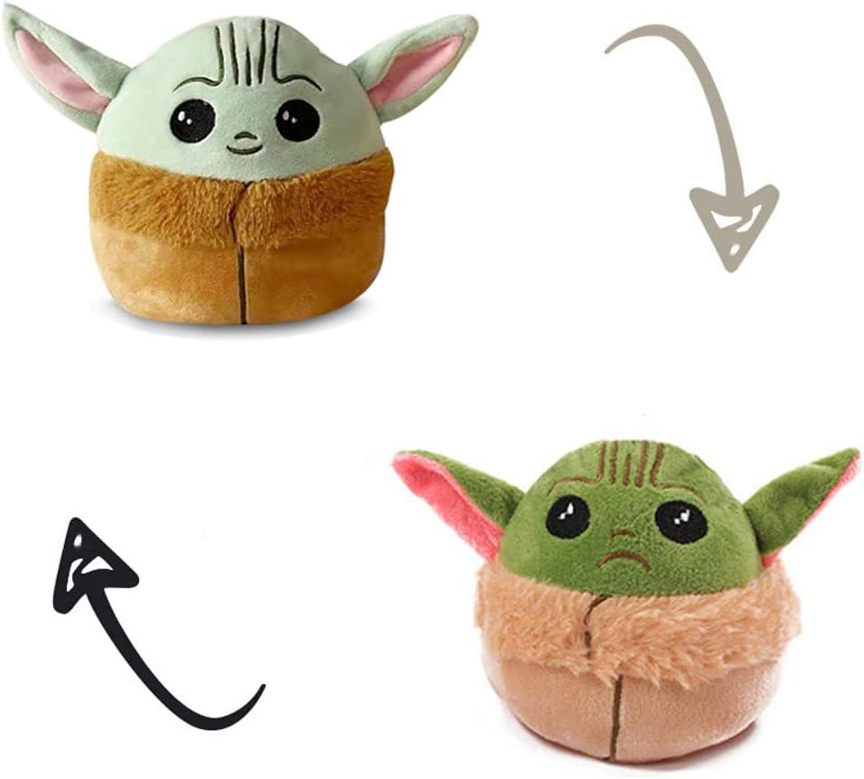 thematys® - Figura de peluche para bebé Yoda   Animal reversible para dar la vuelta   Peluche Joda The Child Mandalorian de peluche peluche peluche peluche reversible cambio de estado de ánimo