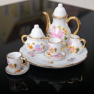 LLY Dollhouse Miniature Dining Ware Porcelain Tea Set Dish Cup Flower Pattern