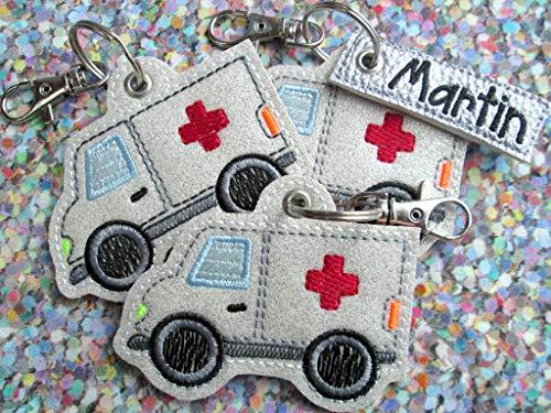 Anhänger personalisierbarer Krankenwagen mit Namen rotes Kreuz Schlüssel-Anhänger Taschen-Anhänger Geschenk