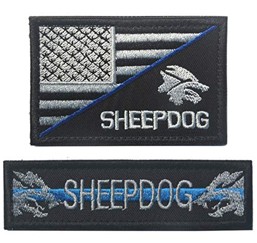 Antrix 2 Pcs Thin Blue Line US Flag/Service Dog Sheep Dog Tactical Military Police Dog Patch Hook & Loop Emblem Patch for Medium and Large Dog Vests/Harnesses