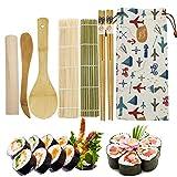 Bambu Sushi Making kit, 2 X Home Sushi Rolling Mat 2 X Bacchette 1X Mattarello 1X Coltello in legno 1X Bambù Riso Cucchiaio 1X Adorabile Borsa di stoffa (8 pezzi)