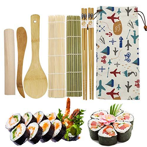 Kit Sushi Bambu, 2 X Home Sushi Rolling Mat 2 X Palillos 1X Rodillo 1X Cuchillo de madera 1X Cuchara de arroz de bambú 1X Bolsa de tela adorable (8 piezas)
