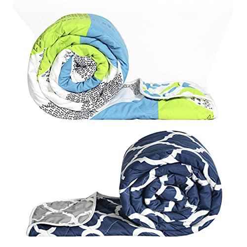 Divine Casa 120 GSM Microfiber Reversible Set of 2 Piece Single Bed Comforter Blanket Light Weight Quilt Duvet, Neon Green & Blue