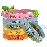 Janolia Set de Pulseras de Citronela, 12 Pulseras & 32 Pegatinas, Ajustables para los Niños y Adultos, Pegatinas Pueden Pegar en Ropas de Niños