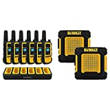 DEWALT DXFRS800 2 Watt Heavy Duty Walkie Talkies - Two-Way Radio with VOX (6 Pack w/Gang Charger) & DXFRS220 1 Watt Wearable Heavy Duty Walkie Talkies - Shock Resistant, Two-Way Radio (2 Pack)