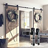 SMARTSTANDARD 13FT Double Gate Heavy Duty Sliding Barn Door Hardware Kit, Two-Piece Track Rail, Black, Super Smoothly & Quietly, Simple & Easy to Install, Fit 36'-40' Wide DoorPanel (J Shape Hangers)