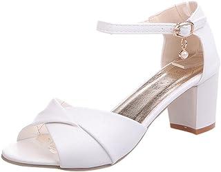 15650c852cf013 Beautyjourney Chaussures Femme Sandales Talons, Sandales Plage Tongs  Blanches,Femmes Cheville Talons Sandales Haut