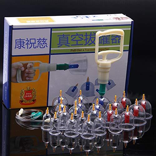 Kang Zhuci Schröpfen Set mit 24 Schröpfgläser aus Kunststoff mit Vakuumpumpe