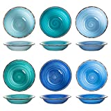 esto24 6er Set große Suppenteller Schale Porzellan Geschirr in tollen Farben für Ihre liebsten Speisen (Suppenteller Blau)