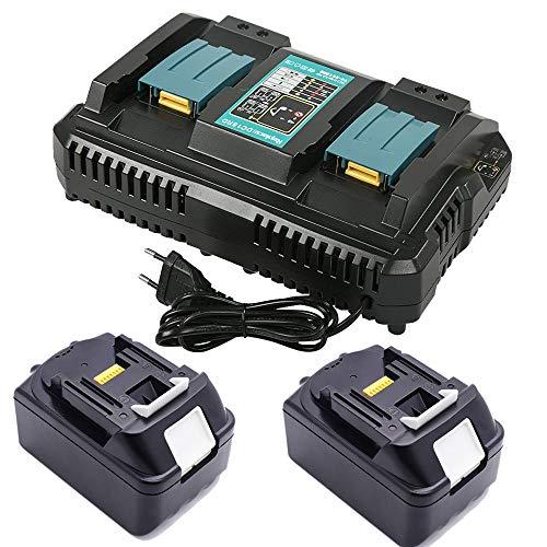 FengBP® Ersatz kompatibel für Makita DC18RD Schnellladegerät mit 2X BL1850 B 18V 5.0Ah für Makita BL1850B BL1830 DMR100 DMR110 DMR103B BMR104 DMR104 DMR106 DMR108 DMR107 dur380Z dur181z duc353z