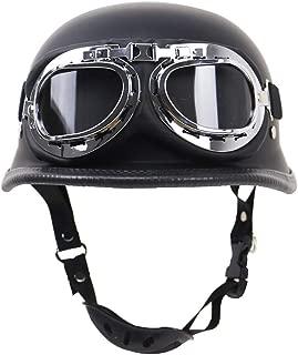 FlyingBoy Summer Motorcycle Retro Half-Open Helmet, Cruiser German Defense Forces Helmet DOT Certified Jet Helmet and Pilot Goggles(S,M,X,XL,XXL),XXL