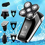 Vifycim Electric Razor for Men, 5 in 1 Head Shavers for Bald Men, Dry Wet Waterproof Mens Rotary Shaver, USB Cordless Face Rechargeable Razors Travel Portable Grooming Kit for Man Facial Bald Head