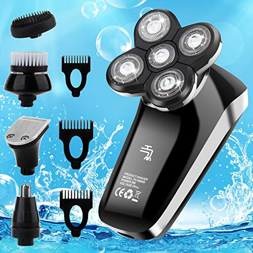 Vifycim Electric Razor for Men 5 in 1 Head Shavers for Bald Men Dry Wet Waterproof Mens Rotary Shaver USB Cordless Face Rechargeable Razors Travel Portable Grooming Kit for Man Facial Bald Head