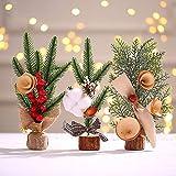 inherited 3 Piezas Mini árbol de Navidad Artificial, árbol de Navidad Pequeño Artificial para decoración de Mesa para Navidad, día de San Valentín, Fiesta en casa