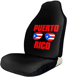 UlNight Car Seat Cover Puerto Rico Flag Glasses Universal Easy Install Front Seats Protectors