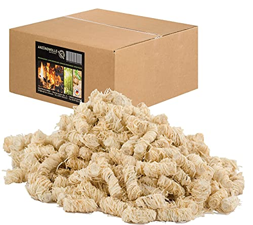 REDPRICE® Anzündwolle (10KG) Premium 100{76dc829657cc85db69a3f18c7a0cb5671baacd04e9d38cd71e53dd60f0c0fbf3} ÖKO-Kaminanzünder Grill-Smoker-Ofen Anzünder Holz-Wolle mit Natur-Wachs Kamin-Ofen umweltfreundlich fire-starter Holzanzünder Feueranzünder