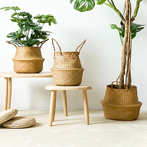 Woven Seagrass Basket,Gracosy Natural Handmade Belly Basket Collapsible Basket Straw Basket Decorative Basket Flower Pot Basket with Handles for Home Storage, Plant Pot Cover Natural color S