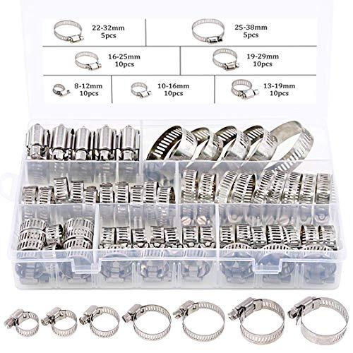 Dabeto 60 Stück Profi Schlauchschellen Set, 8-38mm Rohrschellen aus 304 Edelstahl,7 Größen Schlauchklemmen, Schlauchbinder Industriequalität Robust für Wasserrohr Automobiltubing etc.