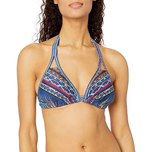 Jessica Simpson Women's Dusty Road Denim-Inspired Double Tunnel Triangle D-Bra Bikini Top, Peri Multi, SD